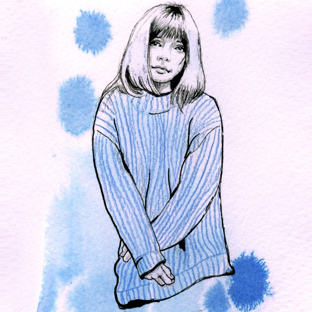 Blue sweater drawing by Elli Maanpää 2015