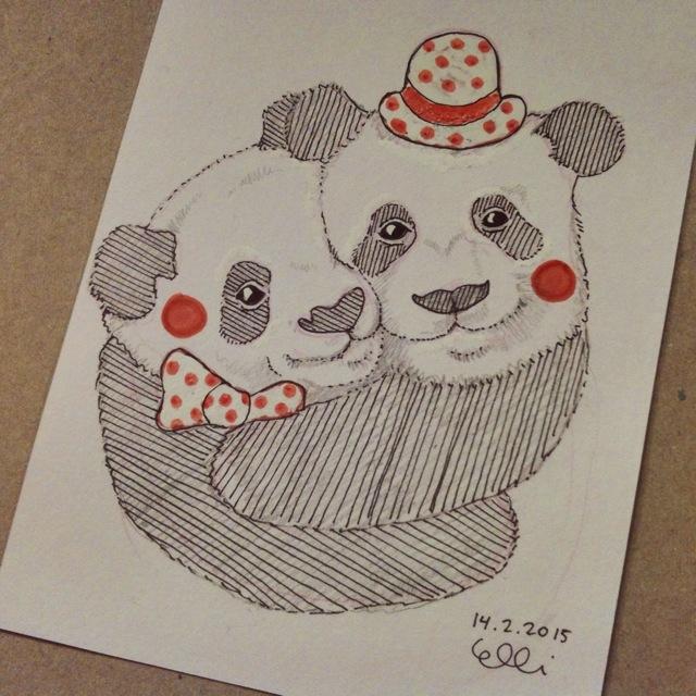 Panda Hug drawing by Elli Maanpää 2015