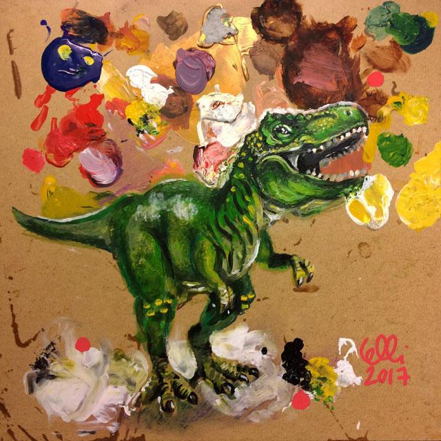 Elli Maanpää Art - Tyrannosaurus Tietta - 30cm x 30cm - 2017