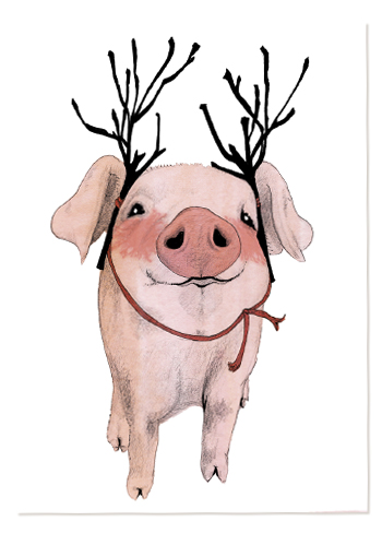 Christmas piglets illustration Elli Maanpää 2015