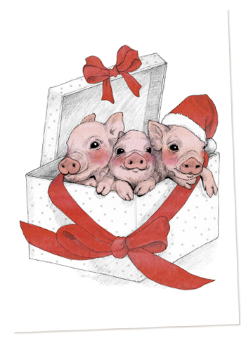 Christmas piglets illustration Elli Maanpää