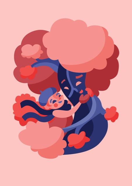 Hugging Trees illustration Elli Maanpää 2017