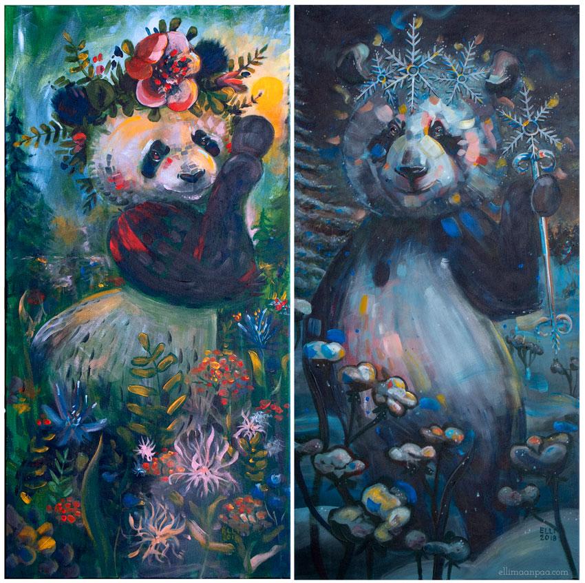 Lumen kesä & Pyryn talvi, acrylic on canvas, 100x50cm // Pandas of Finland, Elli Maanpää, 2018