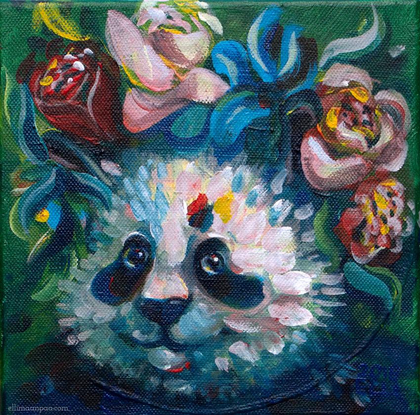 Pikkujättiläinen, acrylic on canvas, 20x20cm // Panda of Finland, Elli Maanpää, 2018