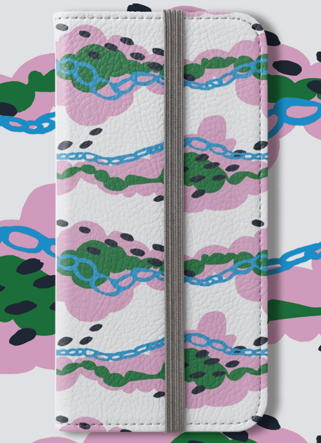 Dreamy Clouds pattern on a iPhone wallet // Elli Maanpää pattern 2018