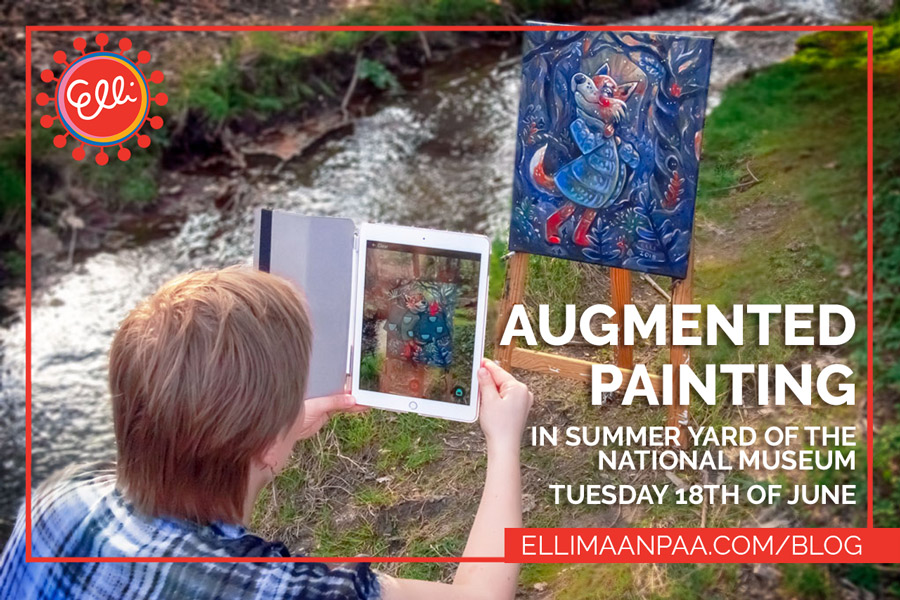 Augmented Painting in Summer Yard of National Museum in Helsinki on Tuesday the 18th of June 2019 from 3-6pm