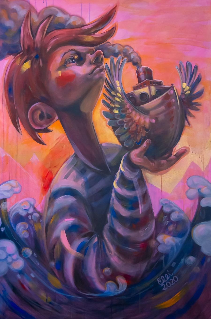 Elli Maanpää: Beyond the Horizon, Acrylic paint on recycled canvas, 100x150cm, 2020