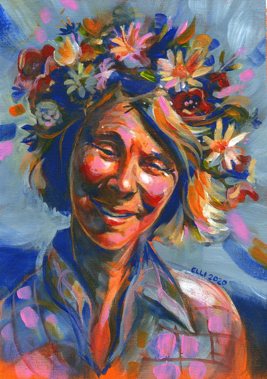 Elli Maanpää: Laughing Tove, Acrylic paint on cotton canvas pad, 21x 29,7cm, 2020
