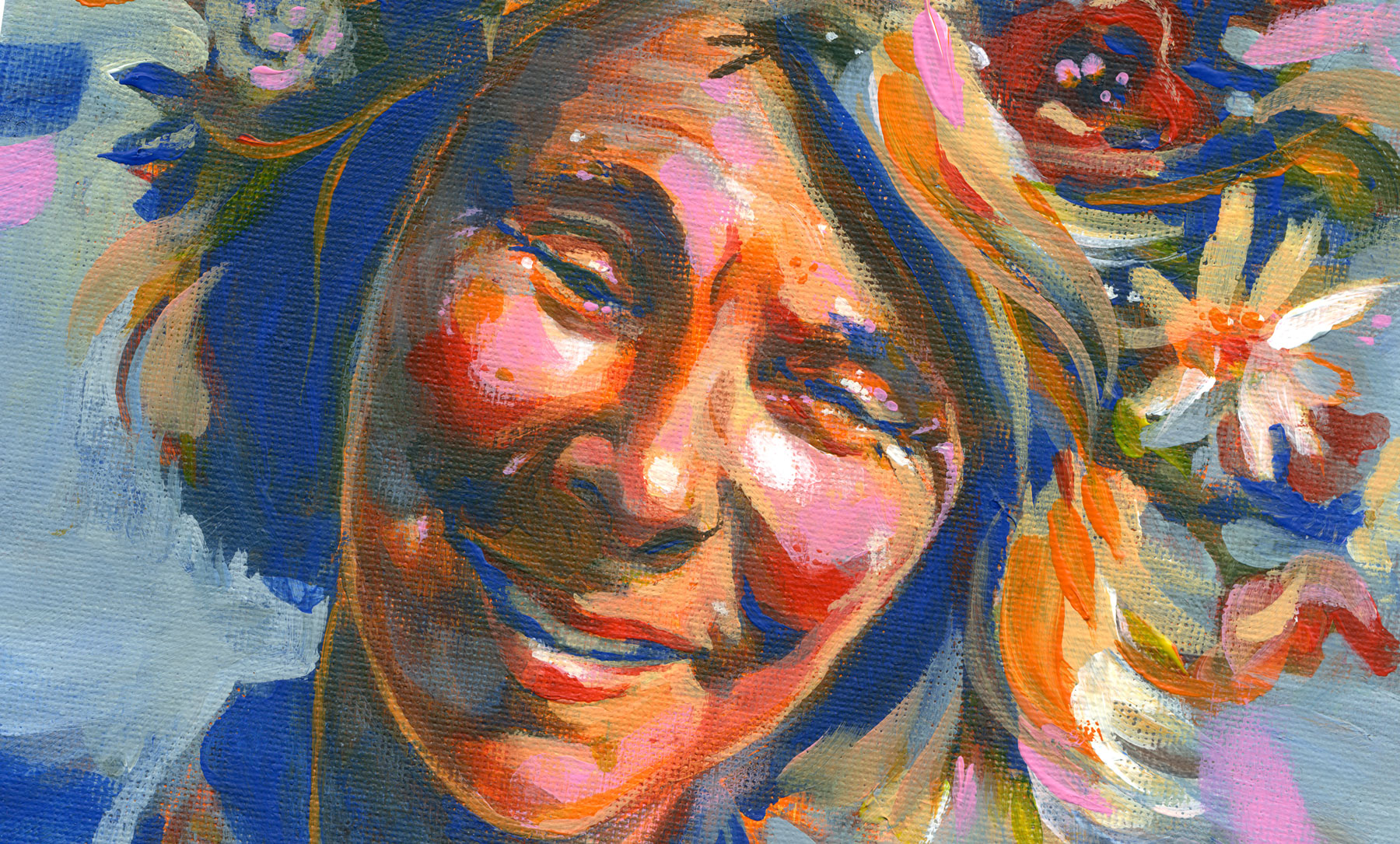 Elli Maanpää: Laughing Tove, Acrylic on canvas, 21 x 30 cm, 2020