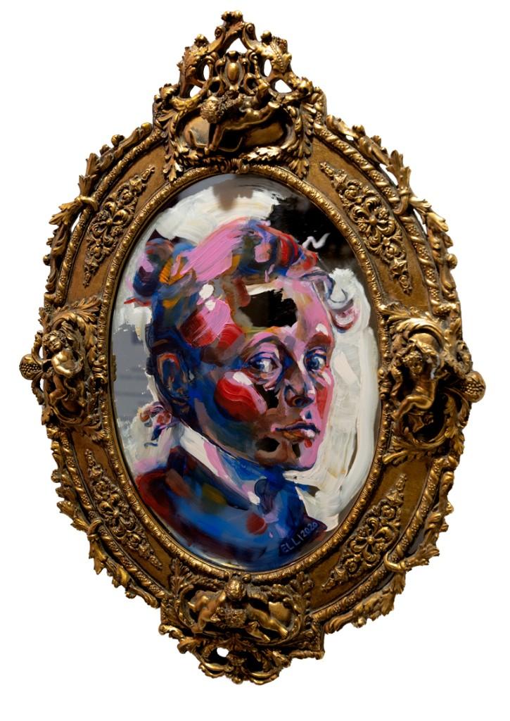 Elli Maanpää: Mirror Image of Helene, Acrylic paint on vintage mirror, 32x23cm, 2020
