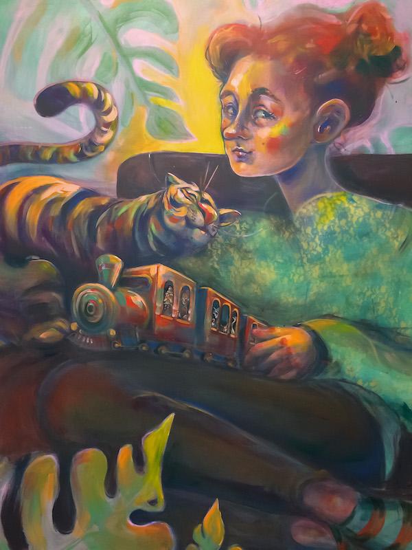 Elli Maanpää: Couch Surfing, Acrylic paint on canvas, 100x150cm, 2020