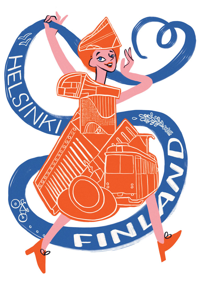 """""""Maiden of Helsinki"""" Come to Finland -poster contest finalist, Elli Maanpää 2020"""