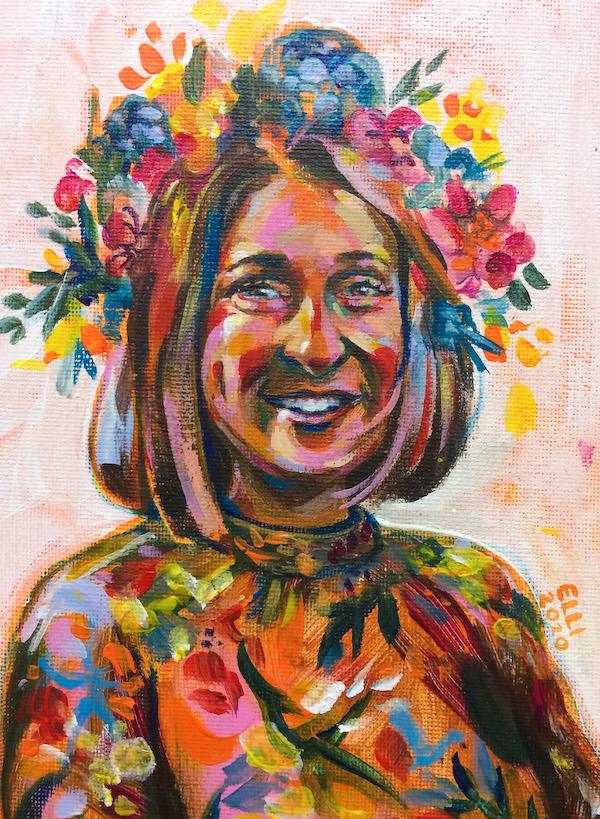 """Elli Maanpää. Portrait: """"Giannetta Porta"""" Acrylic on canvas pad. 148mm x 210mm. 2020."""