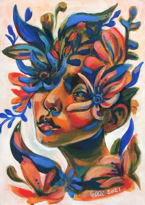 Elli Maanpää: Äiti Maa - Eng. Mother Earth. Acrylic on cotton panel. 24cm x 33cm. 2021.