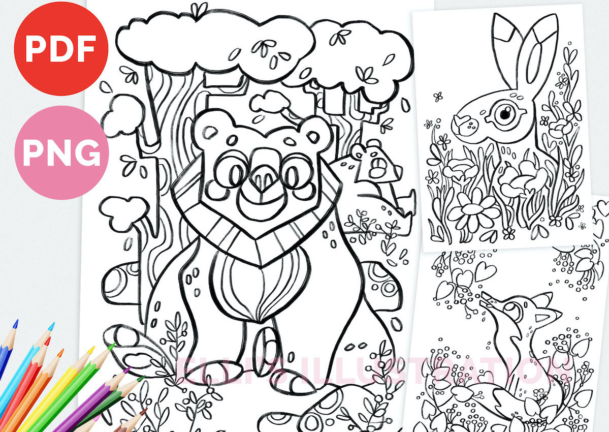 Printable Coloring Pages Digital Download // Tulostettavia värityskuvia // Elli Maanpää 2021