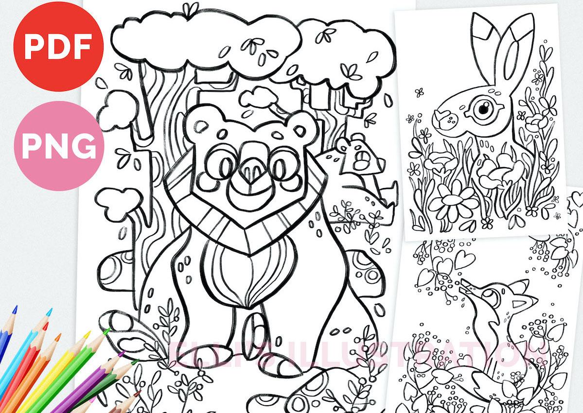 Printable Coloring Pages Digital Download // Tulostettavia värityskuvia // Elli Maanpää 2021