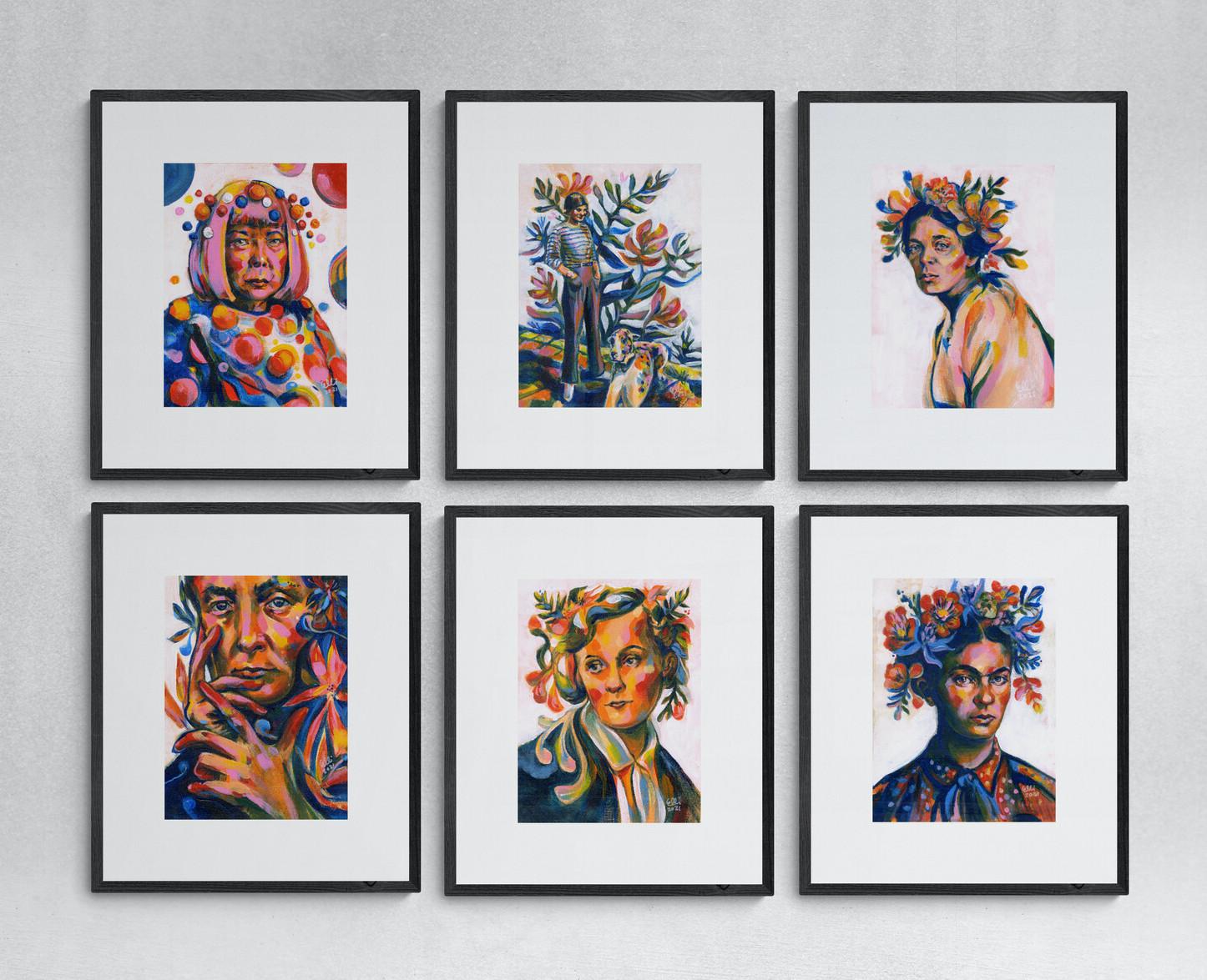 Art Prints Women Artist: Frida Kahlo, Yayoi Kusama, Coco Chanel, Georgia O'Keeffe, Astrid Lindgren, Ellen Thesleff. Taideprintti. Elli Maanpää. 30 x 40 cm 2021