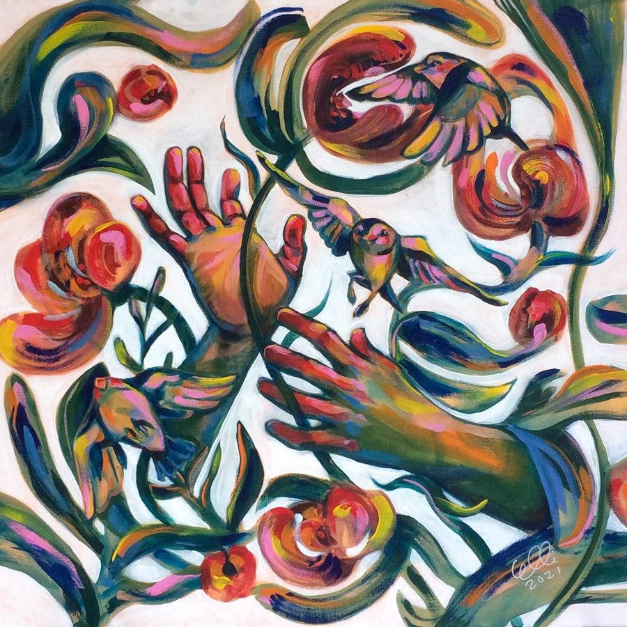 Elli Maanpää: Punoja (Eng. Intertwine). Acrylic on canvas. 80cm x 80cm. 2021.