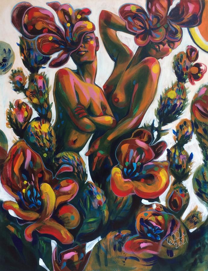 Elli Maanpää: Hekuma (Eng. Pleasure of the Heat). Acrylic on canvas. 89cm x 116cm. 2021.