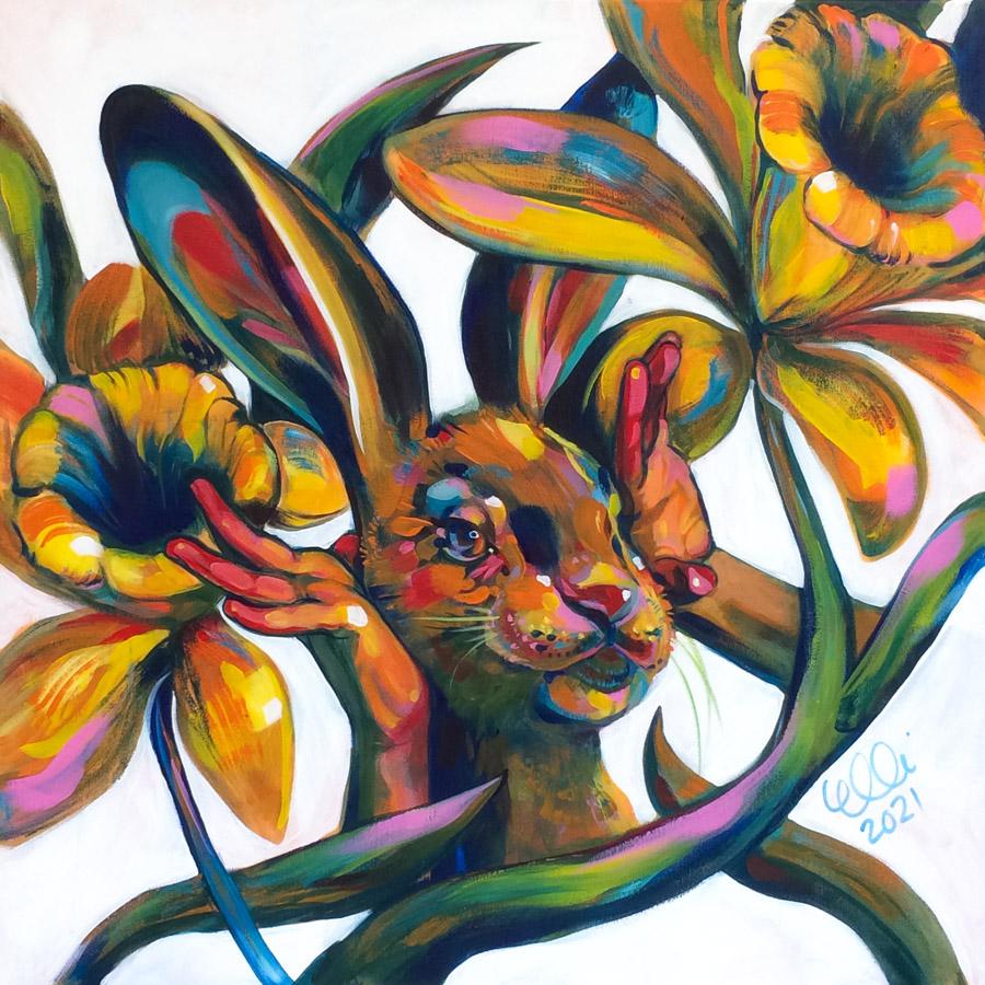 Elli Maanpää: Kukkalähetys (Eng. Flower Broadcast). Acrylic on canvas. 80cm x 80cm. 2021.