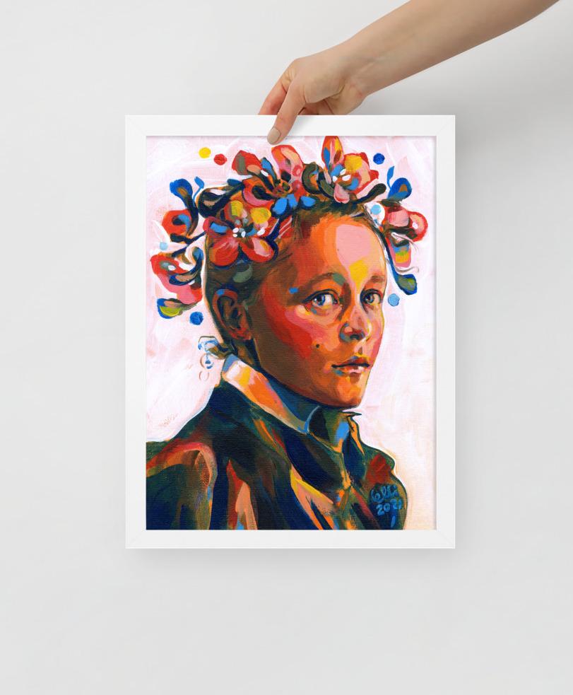 Helene Schjerfbeck muotokuva taideprintti 30 x 40 cm valkoisilla kehyksillä. Elli Maanpää.